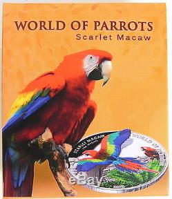 2016 WORLD OF PARROTS SCARLET MACAW 3D WINGS Silver Proof Coin