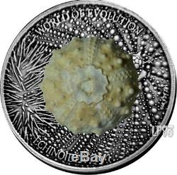 2017 1 Oz Silver 1000 Francs ECHINOIDEA World of Evolution Antique Finish Coin