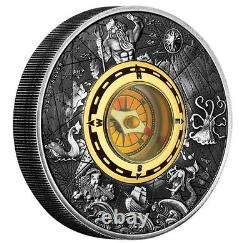 2017 P Tuvalu Compass HIGH RELIEF ANTIQUED 2 Oz Silver $2 COIN NGC MS70 ER