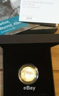 2017 The First World War Aviation UK Royal Mint Silver Proof Piedfort £2 Coin