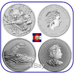 2018-2019 Next Generation Australia 2 oz Silver Coins Koala & Crocodile capsules
