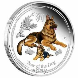 2018 Australia PROOF Colorized Lunar Year of the Dog 1oz SIlver $1 Coin with COA