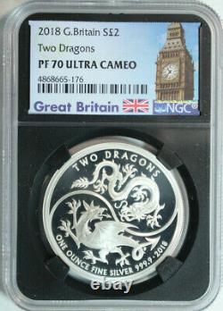 2018 Great Britain. 999 Silver 2 Pounds Two Dragons $2 NGC PROOF 70 ULTRA CAMEO