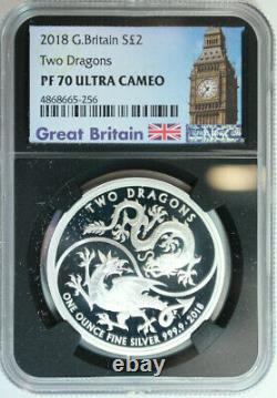 2018 Great Britain. 999 Silver 2 Pounds Two Dragons / NGC PROOF 70 ULTRA CAMEO