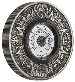 2018 P Tuvalu Thermometer HIGH RELIEF ANTIQUED 2 Oz Silver $2 COIN NGC PF70 FR