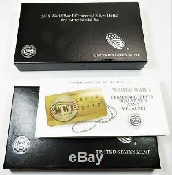 2018-P World War 1 Centennial Proof Silver Dollar & Army Medal Set US Coin20516E