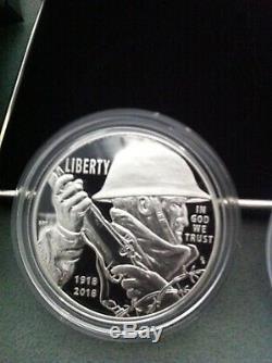 2018 World War 1 Army Centennial 2 Coin Silver $ + Medal Set New From Us Mint