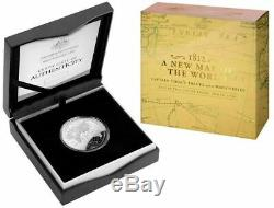 2019 1812 A NEW MAP OF THE WORLD COOK'S TRACKS Silver Proof Dome Coin