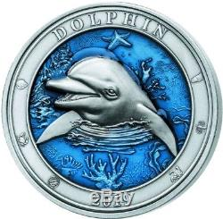 2019 3 Oz Silver DOLPHIN UNDERWATER WORLD Coin $5 Barbados