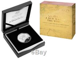 2019 $5 Fine Silver Proof Domed Coin 1812 A New Map Of The World Cook's Tracks