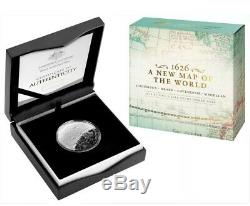 2019 Australia 1 oz Silver 1626 Map of the World Western Domed Proof Coin BoxCOA