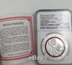 2019 NGC PF70 Berlin world Money Fair Polymer Ring 1oz Silver panda coin box&coa