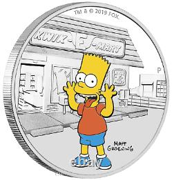 2019 The Simpsons Bart Simpson 1oz $1 Silver 99.99% Dollar Proof Coin