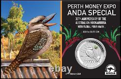2020 ANDA Show Special 30th Ann. Kookaburra 1oz $1 Silver Coin with Paw Privy
