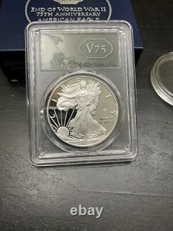 2020-W American Silver Eagle V75 Privy End Of World War II PR69DCAM Coin