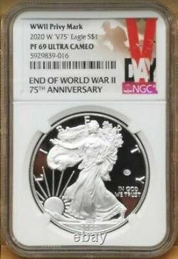 2020 W End of World War II 75th American Silver Eagle V75 NGC PF69
