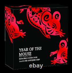 2020 Year of the Mouse 1oz SILVER $1 First Lunar Rotating Charm ANTIQUED COIN