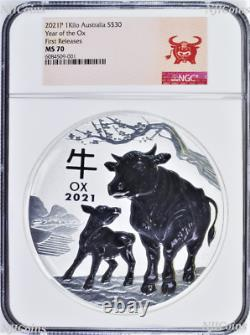 2021 Lunar Year of the OX 1 Kilo Bullion Silver $30 Coin NGC MS70 FIRST Releases