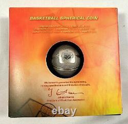 2021 Samoa $5 Spherical Antiqued Basketball 1 oz. 999 Silver Coin 999 Made