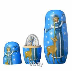 2021 Solomon Isl Snow Maiden Matryoshka Doll 1 oz Silver Colorized Proof $5 OGP