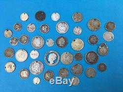 38 Pieces Job Lot Silver World Holed Coin Ex Jewellery Coins