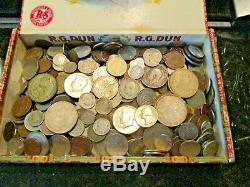 4+ Pound Lot of World Coins in A Vintage Cigar Box with Silver Coins