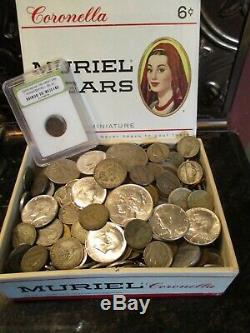 6+ Pound Lot of World Coins in A Vintage Cigar Box with 8 Oz. Of Silver Coins