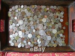 6+ Pound Lot of World Coins in A Vintage Cigar Box with 9 Oz. Of Silver Coins