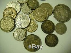 7 Ounces Mixed World Silver Coins Europe Central & South America FREE Ship