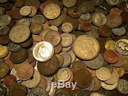 7+ Pound Lot of World Coins in A Vintage Cigar Box with Silver