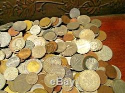 8+ Pound Lot of World Coins in A Vintage Cigar Box with Silver Coins