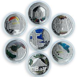 Andorra set of 7 coins 10 dinars Wonders of World UNESCO colorized silver 2009
