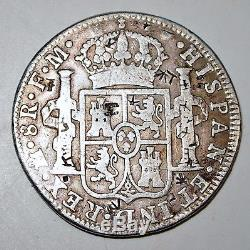 Antique Mexico 1792 8 Reales Silver Coin, Chop Marks, Colonial Coinage, World