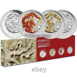 Australia 2012 Year Dragon Lunar Series II 4-Coin $1 1 Oz Silver Dollar Type Set