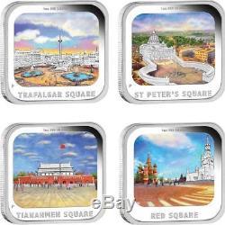 Australia 2013 4x1$ World Famous Squares 4x1 Oz Silver Proof Four Coin Set