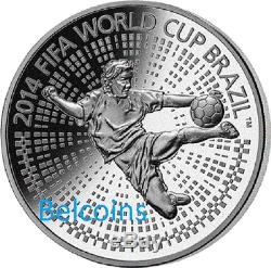 Belarus 2013 FIFA World Cup Soccer 2014 Brazil 100 Rubles Silver Coin