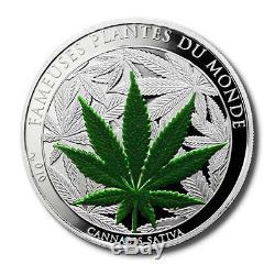 Benin World's 1st Silver Legal Tender Marijuana Coin 1,000 CFA 2010 1 oz Proof C