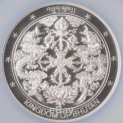 Bhutan 2004 Wonders World Angkor Wat Silver Coin With Gold 1g NGC PF69