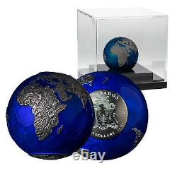 Blue Marble Earth Night 3oz Silver Coin Limited Edition Rare Sold Out Worldwide