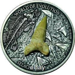 Burkina Faso 2016 1000 Francs World of Evolution Selachii 1oz Silver Coin