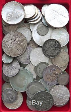 COLLECTION SILVER WORLD COINS, LOT ONLY SILVER, 73PC 651G #xx4 008
