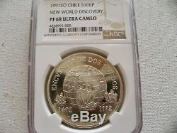Chile 1991 10KP New World Discovery silver coin NGC PF 68 UC