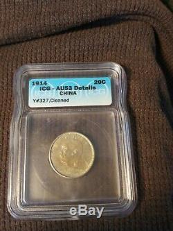 China 1914 Yuan Shi Kai 20 Cents ICG AU 55 Toned Beautiful Coin. World shipping