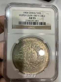 China Dragon Coin Silver 1904 TAEL Hupeh L&M NGC AU55