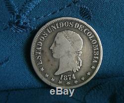 Colombia 1874 50 Centavos Silver World Coin KM172.2 RARE South America Bogota