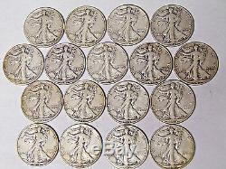 Complete Set 1940-1945 World War II Walking Liberty Half Dollars All 17 Coins