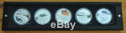 Cook Islands -silver 5 X 1$ Coins Set 2004 Year Box+coa Rail Journes World Train