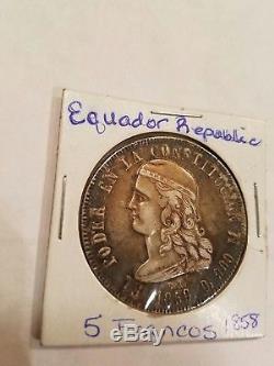 ECUADOR Silver 1858 GJ Quito Mint 5 Francos coin KM 39 EXTREMELY RARE WORLD COIN