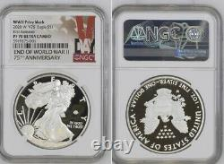 End Of World War II 75th Anniversary American Eagle Silver Coin NGC PF70 IN HAND