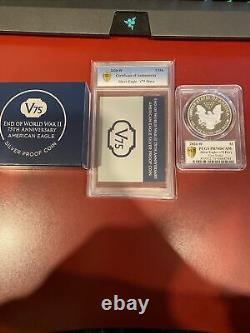End Of World War II 75th Anniversary American Eagle Silver Proof Coin V75 PR70